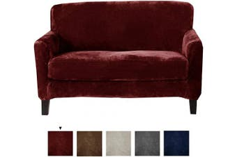 (Love Seat, Zinfandel Red) - Great Bay Home 2 Piece Velvet Plush Loveseat Slipcover. Form Fit, Stretch Slip Resistant, Strapless Slipcover. Soft Stretch Loveseat Slipcover. Elliana Collection (Love Seat, Zinfandel Red)