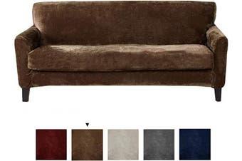 (Sofa, Walnut Brown) - Great Bay Home 2 Piece Velvet Plush Sofa Slipcover. Form Fit, Stretch Slip Resistant, Strapless Slipcover. Soft Stretch Sofa Slipcover. Elliana Collection (Sofa, Walnut Brown)