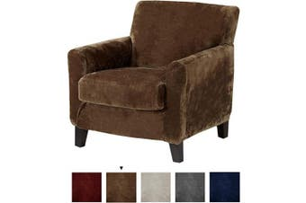 (Chair, Walnut Brown) - Great Bay Home 2 Piece Velvet Plush Chair Slipcover. Form Fit, Stretch Slip Resistant, Strapless Slipcover. Soft Stretch Arm Chair Slipcover. Elliana Collection (Chair, Walnut Brown)