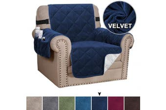 (Navy) - Velvet Chair Cover Armchair Slipcover Furniture Protector Covers Couch Cover for Seat Width up to 60cm Chair with 2 Straps Anti-Slid Chair Slip Cover Throw for Pets (Chair, Navy)