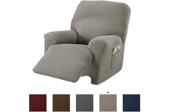 (Recliner, Silver Cloud) - Great Bay Home Popcorn Textured Recliner Slipcover. Form Fit, Slip Resistant, Strapless Slipcover. Stretch Recliner Slipcover. Kova Collection (Recliner, Silver Cloud)