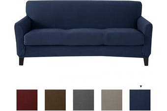 (Sofa, Navy) - Great Bay Home Popcorn Textured Sofa Slipcover. Form Fit, Slip Resistant, Strapless Slipcover. Stretch Sofa Slipcover. Kova Collection (Sofa, Navy)