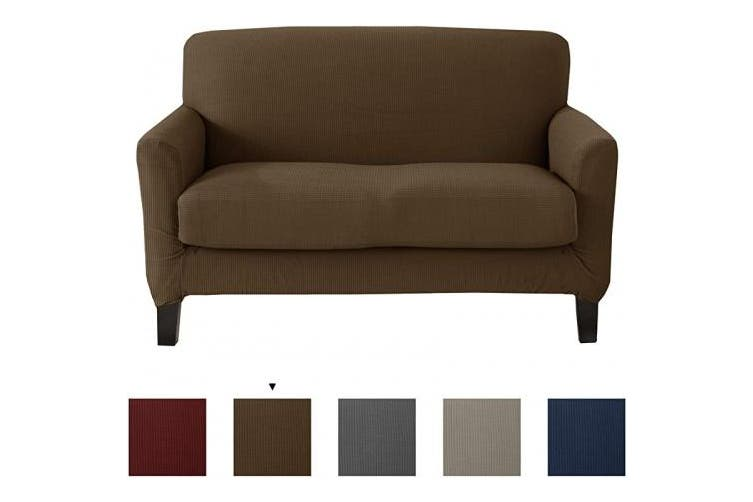(Love Seat, Fossil Brown) - Great Bay Home Popcorn Textured Loveseat Slipcover. Form Fit, Slip Resistant, Strapless Slipcover. Stretch Loveseat Slipcover. Kova Collection (Love Seat, Fossil Brown)