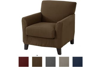 (Chair, Fossil Brown) - Great Bay Home Popcorn Textured Chair Slipcover. Form Fit, Slip Resistant, Strapless Slipcover. Stretch Arm Chair Slipcover. Kova Collection (Chair, Fossil Brown)
