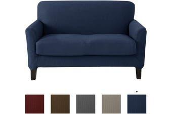 (Love Seat, Navy) - Popcorn Textured Loveseat Slipcover. Form Fit, Slip Resistant, Strapless Slipcover. Stretch Loveseat Slipcover. Kova Collection (Love Seat, Navy)