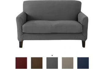 (Love Seat, Frost Gray) - Great Bay Home Popcorn Textured Loveseat Slipcover. Form Fit, Slip Resistant, Strapless Slipcover. Stretch Loveseat Slipcover. Kova Collection (Love Seat, Frost Grey)