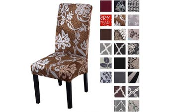 (4pcs, Brown&brown) - Kivors Universal Stretch Chair Slipcovers, Removable Chair Cover Washable Dining Chair Cover Chair Protective Covers for Husse Hotel Party Banquet (4pcs, Brown & Brown)