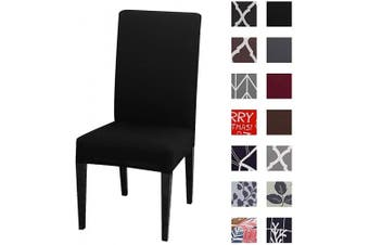 (4pcs, K-black) - Kivors Universal Stretch Chair Slipcovers, Removable Chair Cover Washable Dining Chair Cover Chair Protective Covers for Husse Hotel Party Banquet