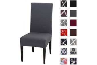 (6pcs, K-grey&gr) - Kivors Universal Stretch Chair Slipcovers, Removable Chair Cover Washable Dining Chair Cover Chair Protective Covers for Husse Hotel Party Banquet