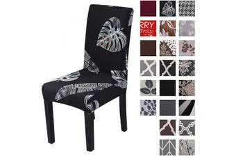 (4pcs, Black&leaf) - Kivors Universal Stretch Chair Slipcovers, Removable Chair Cover Washable Dining Chair Cover Chair Protective Covers for Husse Hotel Party Banquet (4pcs, Black & Leaf)