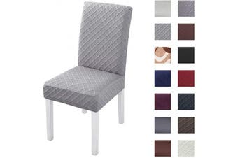 (4pcs, Jacquard Grey) - Kivors Universal Thicken Stretch Chair Slipcovers, Removable Chair Cover Washable Dining Chair Cover Chair Protective Covers for Husse Hotel Party Banquet (Jacquard Grey, 4)