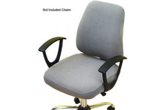 (Grey) - Perktail Removable Office Chair Cover with Floral Pattern Elasticized Dorm Computer Rotating Chair Slipcover Washable Seat and Back Cover (Grey)