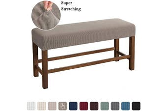 (Medium, Taupe) - Flamingo P Bench Covers High Stretch Bench Slipcover Rectangle for Dining Room Bench Cushion Covers Indoor Bench Cushion Slipcovers Thicker Jacquard Non Slip with Security Straps (Medium - Taupe)