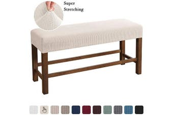 (Large, Natural) - Flamingo P Bench Covers High Stretch Bench Slipcover Rectangle for Dining Room Bench Cushion Covers Indoor Bench Cushion Slipcovers Thicker Jacquard Non Slip with Security Straps (Large - Natural)