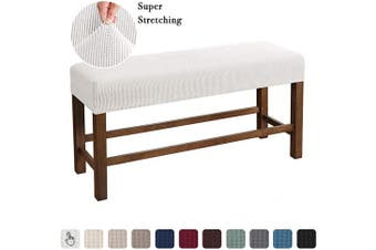 (Medium, Ivory White) - Flamingo P Bench Covers High Stretch Bench Slipcover Rectangle for Dining Room Bench Cushion Covers Indoor Bench Cushion Slipcovers Thicker Jacquard Non Slip with Security Straps (Medium - Ivory)