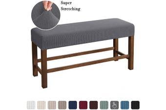 (Medium, Gray) - Flamingo P Bench Covers High Stretch Bench Slipcover Rectangle for Dining Room Bench Cushion Covers Indoor Bench Cushion Slipcovers Thicker Jacquard Non Slip with Security Straps (Medium - Grey)