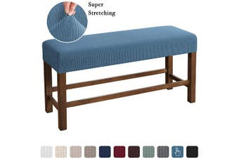 (Large, Dusty Blue) - Flamingo P Bench Covers High Stretch Bench Slipcover Rectangle for Dining Room Bench Cushion Covers Indoor Bench Cushion Slipcovers Thicker Jacquard Non Slip with Security Straps (Large - Dusty Blue)