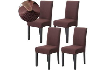 (Chololate) - Ogrmar 4PCS Stretch Removable Washable Dining Room Chair Protector Slipcovers/Home Decor Dining Room Seat Cover(Chololate)