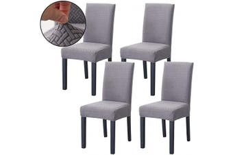 (Grey) - Ogrmar 4PCS Stretch Removable Washable Dining Room Chair Protector Slipcovers/Home Decor Dining Room Seat Cover(Grey)