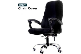 (Large, Black) - WOMACO Printed Office Chair Covers, Stretch Computer Chair Cover Universal Boss Chair Covers Modern Simplism Style High Back Chair Slipcover (Black, Large)