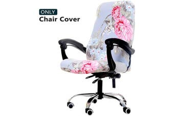 (Medium, Pink Flower) - WOMACO Printed Office Chair Covers, Stretch Computer Chair Cover Universal Boss Chair Covers Modern Simplism Style High Back Chair Slipcover (Pink Flower, Medium)