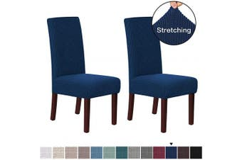(Navy) - H.VERSAILTEX Stretch Dining Chair Covers Set of 2 Chair Covers for Dining Room Parsons Chair Slipcover Chair Protectors Covers Dining, Feature Textured Checked Jacquard Fabric, Navy