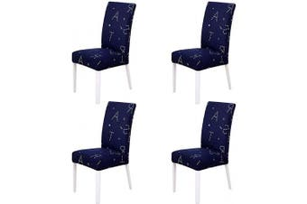 (4 Pieces, Deep Blue With Lettle) - nordmiex Spendex Dining Chair Slipcovers - 4 Pieces Removable Dining Chair Covers Wrinkle and Stain Resistant Chair Protector Fitted Stretch Cushion Covers,Deep Blue with Lettle