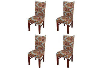 (4 Pieces, Classical) - nordmiex Spendex Dining Chair Slipcovers - 4 Pieces Removable Dining Chair Covers Wrinkle and Stain Resistant Chair Protector Fitted Stretch Cushion Covers for Dining Room,-Classical
