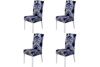 (4 Pieces, Classic a) - nordmiex Spendex Dining Chair Slipcovers - 4 Pieces Removable Dining Chair Covers Wrinkle and Stain Resistant Chair Protector Fitted Stretch Cushion Covers for Dining Room