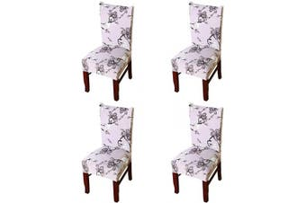 (4 Pieces, Plum Blossom) - nordmiex Spendex Dining Chair Slipcovers - 4 Pieces Removable Dining Chair Covers Wrinkle and Stain Resistant Chair Protector Fitted Stretch Cushion Covers for Dining Room,-Plum Blossom