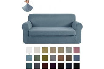 (Smoky Blue) - CHUN YI Stretch Loveseat Sofa Slipcover 2-Piece Couch Cover Furniture Protector, 2 Seater Coat Soft with Elastic Bottom, Cheques Spandex Jacquard Fabric, Medium, Smoky Blue