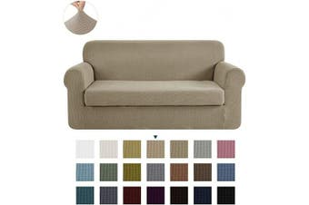 (Camel) - CHUN YI Stretch Loveseat Sofa Slipcover 2-Piece Couch Cover Furniture Protector, 2 Seater Coat Soft with Elastic Bottom, Cheques Spandex Jacquard Fabric, Medium, Camel