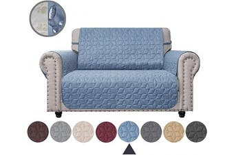 (140cm , Stone Blue) - Ameritex Loveseat Cover Water-Resistant Quilted Furniture Protector with Back Nonslip Paws Slipcover for Dogs, Kids, Pets Loveseat Slipcover Stay in Place for Leather (Stone Blue, 140cm )