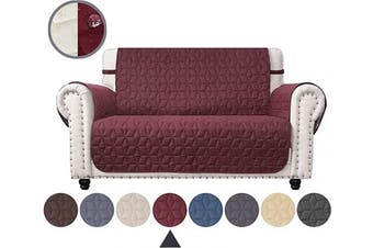 (140cm , Burgundy) - Ameritex Loveseat Cover Water-Resistant Quilted Furniture Protector with Back Nonslip Paws Slipcover for Dogs, Kids, Pets Loveseat Slipcover Stay in Place for Leather (Burgundy, 140cm )