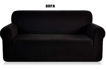(Sofa Cover, Black) - Fancy Linen Sure Fit Stretch Sterling Slipcover Set Slipcover Solid New (Black, Sofa Cover)