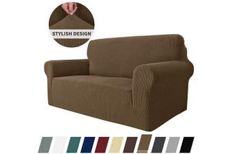 (Loveseat, Brown) - MAXIJIN Super Stretch Couch Cover for 2 Cushion Couch, 1-Piece Universal Love Seat Covers Jacquard Spandex Sofa Protector Dogs Pet Friendly Fitted Loveseat Slipcover (Loveseat, Brown)