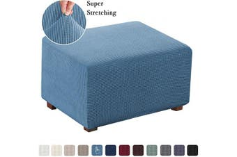 (X-Large, Dusty Blue) - Flamingo P Oversized Ottoman Slipcover Sofa Spandex Jacquard Stretch Storage Ottoman Slipcover Protector Covers (Oversized, Dusty Blue)