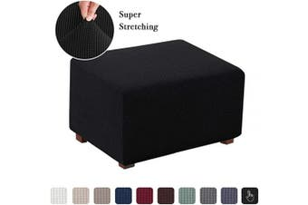 (Large, Black) - Flamingo P Ottoman Slipcovers Stretch Fabric Storage Ottoman Covers Footrest Sofa Slipcovers Footstool Protector Covers (Black, Normal Size)