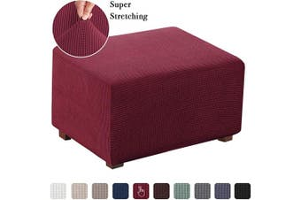 (X-Large, Wine) - Flamingo P Stretch Ottoman Slipcover Spandex Elastic Rectangle Footstool Sofa Cover for Living Room (Oversized, Burgundy)