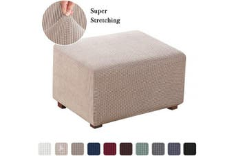 (Large, Sand) - Flamingo P Stretch Jacquard Ottoman Slipcover Spandex Elastic Rectangle Footstool Sofa Cover for Living Room (Normal Size, Sand)