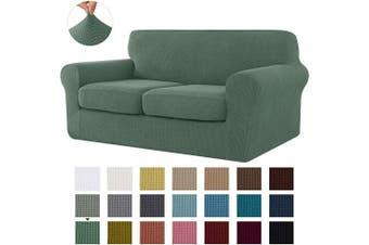 (Medium, Dark Cyan) - CHUN YI Stretch Sofa Slipcover Separate Cushion Couch Cover, Armchair Loveseat Replacement Coat for Ektorp Universal Sleeper, Cheques Spandex Jacquard Fabric (Medium,Dark Cyan)