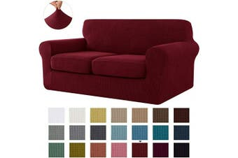 (Medium, Wine) - CHUN YI Stretch Sofa Slipcover Separate Cushion Couch Cover, Armchair Loveseat Replacement Coat for Ektorp Universal Sleeper, Cheques Spandex Jacquard Fabric (Medium,Wine)