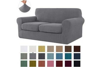 (Medium, Light Gray) - CHUN YI Stretch Sofa Slipcover Separate Cushion Couch Cover, Armchair Loveseat Replacement Coat for Ektorp Universal Sleeper, Cheques Spandex Jacquard Fabric (Medium,Light Grey)