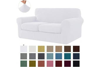 (Medium, White) - CHUN YI Stretch Sofa Slipcover Separate Cushion Couch Cover, Armchair Loveseat Replacement Coat for Ektorp Universal Sleeper, Cheques Spandex Jacquard Fabric (Medium,White)