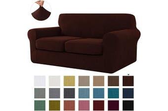 (Medium, Chocolate) - CHUN YI Stretch Sofa Slipcover Separate Cushion Couch Cover, Armchair Loveseat Replacement Coat for Ektorp Universal Sleeper, Cheques Spandex Jacquard Fabric (Medium,Chocolate)