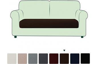 (Medium, Chocolate) - CHUN YI Stretch Couch Cushion Slipcovers, Multi-Purpose Sofa Seat Cushion Cover for Pets, Kids and Dog(Medium,Chocolate)