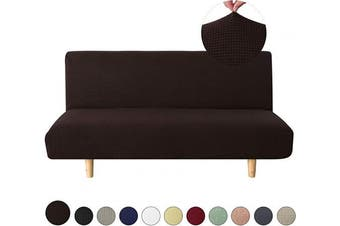 (Large, Chocolate) - sancua Stretch Spandex Futon Sofa Cover Non Slip Armless Couch Cover with Elastic Bottom for Living Room Furniture Protector Couch Slipcover for Dogs, Cats and Pets (Futon, Chocolate)