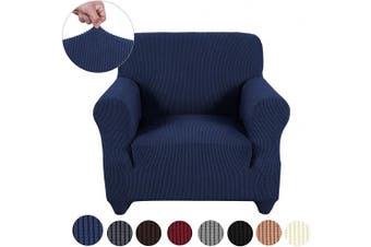 (Small, Navy) - sancua Stretch Spandex Armchair Slipcover Non Slip Sofa Cover with Elastic Bottom for Living Room 1 Piece Couch Covers Furniture Protector Cover for Dogs, Cats and Pets (Chair, Navy)
