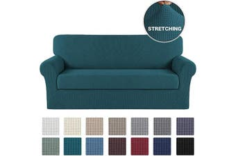 (Large, Deep Teal) - Turquoize Sofa Cover Couch Covers with Elastic Bottom Durable Sofa Stretch Slipcovers Sofa Furniture Protector/Couch Slipcover Cushion Cover with Jacquard Small Checked (Sofa, Deep Teal)