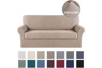 (X-Large, Sand) - Turquoize Stretch Sofa Cover 2 Pieces Furniture Protector with Elastic for Extra Large Couch Cover 2 Piece for 4 Seater Cushion Non Slip Sofa Slipcover Furniture Cover/Protector(Oversize Sofa, Sand)